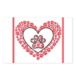 Hearts and paw prints Postcards (Package of 8)