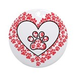 Hearts and paw prints Round Ornament