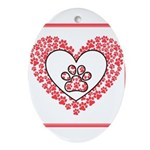 Hearts and paw prints Oval Ornament