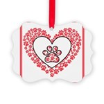 Hearts and paw prints Ornament