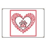 Hearts and paw prints Banner