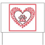 Hearts and paw prints Yard Sign