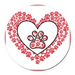 Hearts and paw prints Round Car Magnet