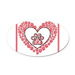 Hearts and paw prints Oval Car Magnet