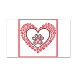 Hearts and paw prints Car Magnet 20 x 12