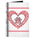 Hearts and paw prints Journal