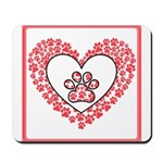 Hearts and paw prints Mousepad