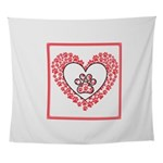 Hearts and paw prints Wall Tapestry