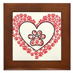 Hearts and paw prints Framed Tile