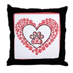 Hearts and paw prints Throw Pillow
