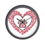 Hearts and paw prints Wall Clock