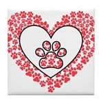 Hearts and paw prints Tile Coaster