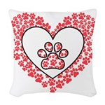 Hearts and paw prints Woven Throw Pillow