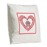 Hearts and paw prints Burlap Throw Pillow