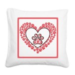 Hearts and paw prints Square Canvas Pillow