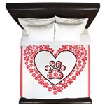 Hearts and paw prints King Duvet