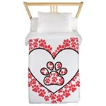Hearts and paw prints Twin Duvet Cover