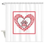 Hearts and paw prints Shower Curtain