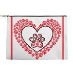 Hearts and paw prints Makeup Bag