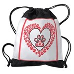 Hearts and paw prints Drawstring Bag