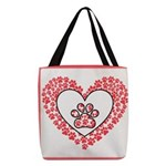 Hearts and paw prints Polyester Tote Bag