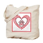 Hearts and paw prints Tote Bag