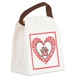 Hearts and paw prints Canvas Lunch Bag