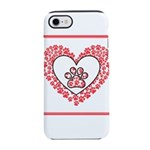 Hearts and paw prints iPhone 8/7 Tough Case
