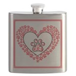 Hearts and paw prints Flask