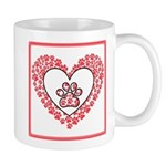 Hearts and paw prints Mugs