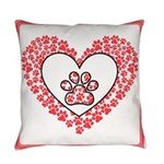 Hearts and paw prints Everyday Pillow