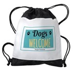 Dogs welcome, people tolerated Drawstring Bag
