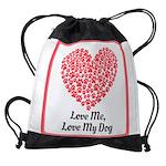 Love me love my dog 2 Drawstring Bag