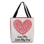 Love me love my dog 2 Polyester Tote Bag