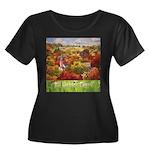 The Vill Women's Plus Size Scoop Neck Dark T-Shirt