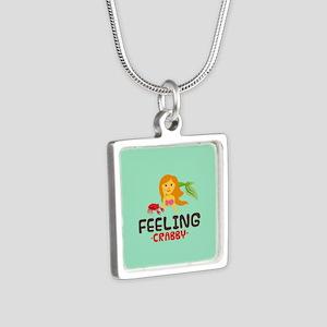 Emojione Mermaid Crabby Silver Square Necklace