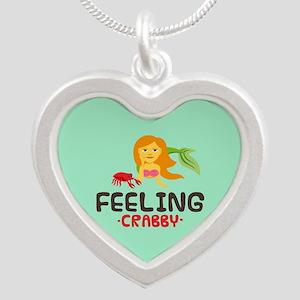 Emojione Mermaid Crabby Silver Heart Necklace