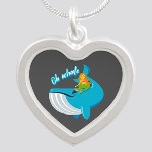 Emojione Mermaid Oh Whale Silver Heart Necklace