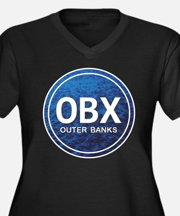 OBX - Outer Banks Women's Plus Size V-Neck Dark T-