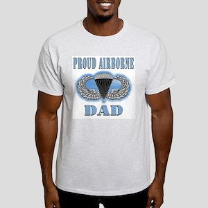 Proud Airborne Dad clouds Ash Grey T-Shirt