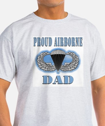 Proud Airborne Dad clouds Ash Grey T-Shirt