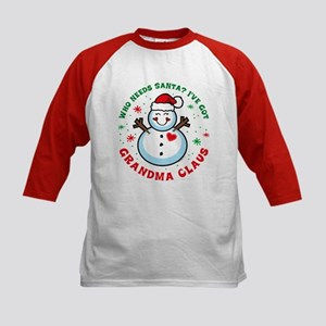 Snowman Grandma Claus Kids Baseball Jersey