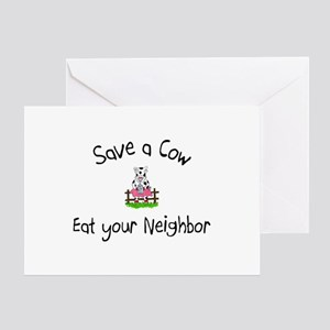 Save A Cow, Eat Your Neighbor Greeting Card