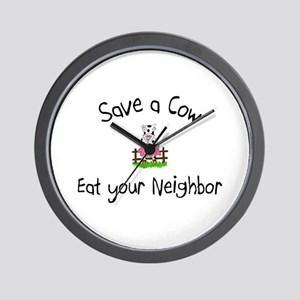 Save A Cow, Eat Your Neighbor Wall Clock