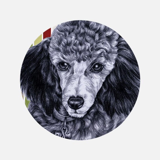 "Penciled Poodle 3.5"" Button"