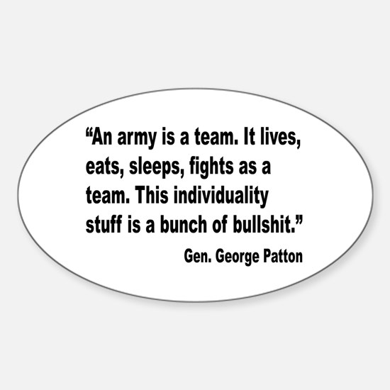 Patton Army Team Quote Oval Decal