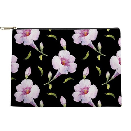 Pink Flowers on Black Makeup Bag