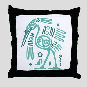 Tribal Crane Throw Pillow
