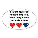 Video Games Ruined My Life. Oval Sticker (10 pk)