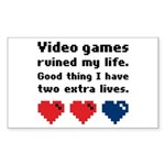 Video Games Ruined My Life. Rectangle Sticker
